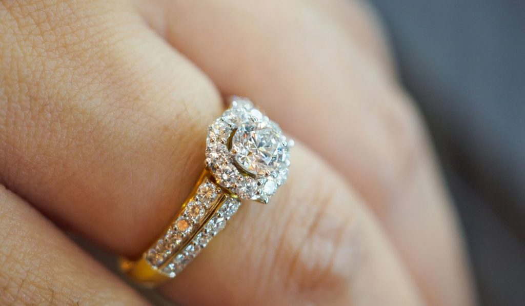 Diamond ring on her finger