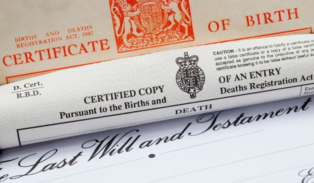 birth certificate and last will and testament