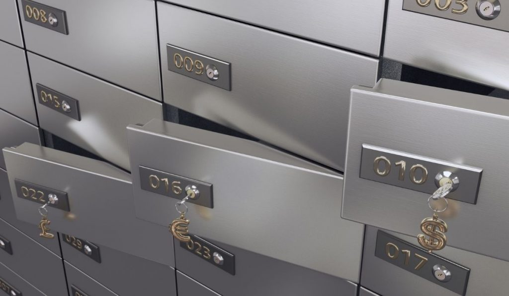 safe deposit boxes with keys in it