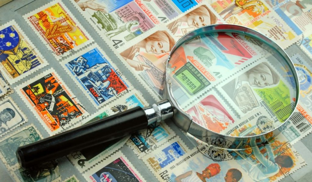 different stamps with magnifier
