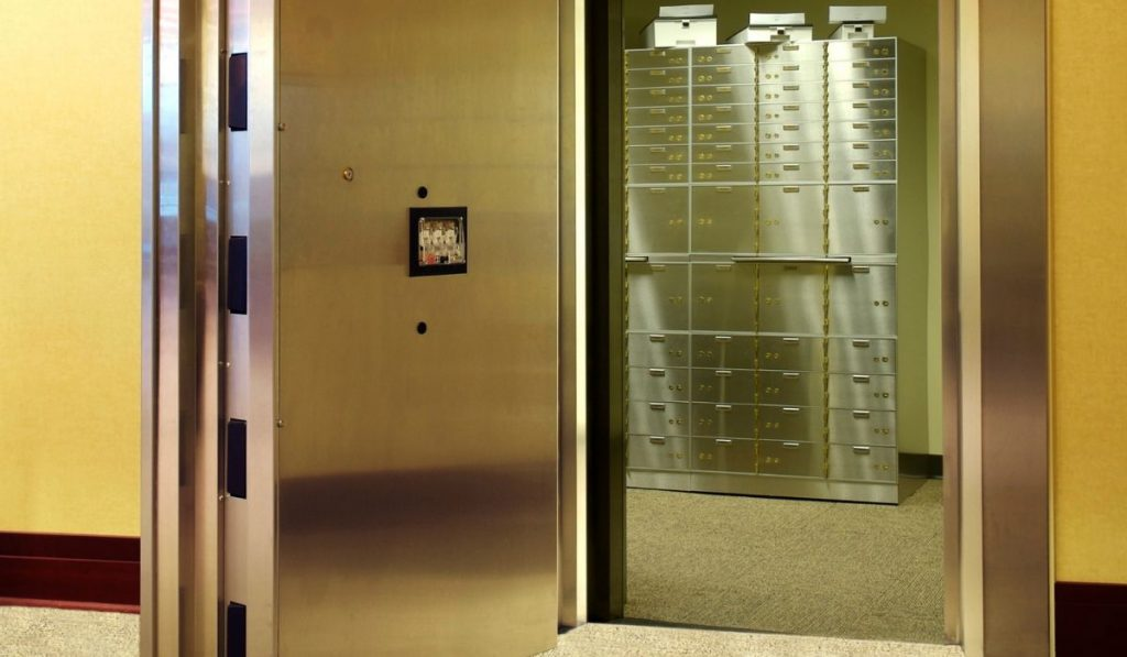 safe deposit boxes inside a vault